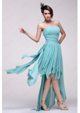 Empire Auqa Blue 2015 High Low Bridesmaid Dress with Beading