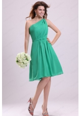 Turquoise A Line One Shoulder Bridesmaid Dress with Bowknot and Ruching