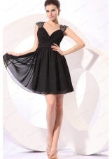 Black Straps Beaded Short Bridesmaid Dress with Mini Length