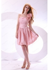Flowers Straps Baby Pink Short Bridesmaid Dress with Knee Length