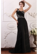 One Shoulder Column Chiffon Black Sweep Train Beading Prom Dress