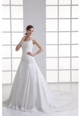 Luxurious A Line Scoop Chapel Train Wedding Dress with Appliques