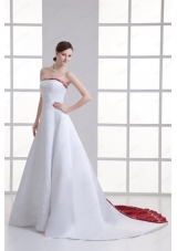 A-line Strapless Embroidery Chapel Train Satin Wedding Dress