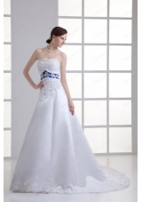 A-line Appliques Strapless Satin Belt Court Train Wedding Dress