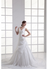 Gorgeous V Neck Cathedral Train Wedding Dress with Appliques and Beading