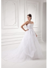 A Line Strapless Appliques Pick Ups Organza Chapel Train Wedding Dress