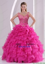 2015 Most Popular Hot Pink Quinceanera Dresses with Beading and Ruffles