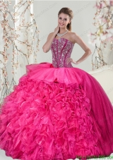 2015 Detachable Fuchsia Sweet 15 Dresses with Beading and Ruffles