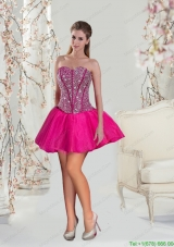 The Brand New Style Beading and Ruffles Fuchsia Dama Dress for 2015