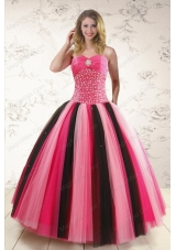 Unique Multi-color Sweet 15 Dresses with Beading for 2015