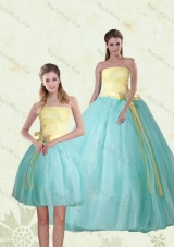 2015 Perfect Strapless Multi Color Quinceanera Gown with Bowknot
