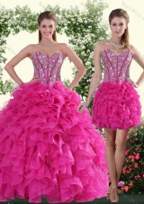 2015 Detachable Sweetheart Hot Pink Sweet 16 Dresses with Beading and Ruffles