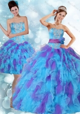 Beaded Strapless Multi Color Quinceanera Dresses with Ruffles and Sash for 2015