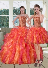 2015 Multi Color Strapless Quinceanera Dress with Beading and Ruffles