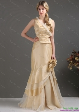 Plus Size Champagne Long Prom Dresses with Ruffles and Hand Made Flower