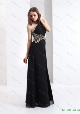 2015 Luxurious One Shoulder Beading Prom Dress in Black