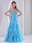 Ruffles Baby Blue Sweetheart Beading and Ruch 2013 Prom Dress Party Style