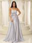 Sliver Prom Dress Elegant With Strapless Ruched Bodice For Military Ball