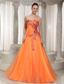Ruched Bodice 2013 Orange Sweetheart Prom Dress With Appliques