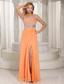 High Slit One Shoulder Zipper Orange With Beaded Decorate Bust 2013 Evening Dress Party Style