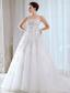Sweet A-line Strapless Court Train Tulle Beading Wedding Dress