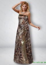 Sexy Column Strapless Camo Prom Dresses with Sequins