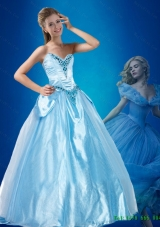 Perfect 2015 Fall Beaded Sweetheart Cinderella Quinceanera Dress in Blue