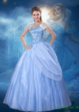 Top Seller 2015 Summer Ball Gown Blue Cinderella Quinceanera Dress with Cap Sleeves
