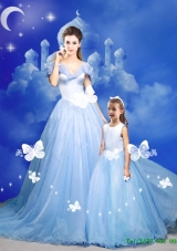 2015 Summer New Style Cinderella Princesita Dresses with Hand Made Flowers in Blue