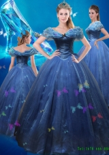 2015 Summer Beautiful Ball Gown Hand Made Flowers Cinderella Quinceanera Dress in Blue