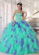 Elegant Multi Color Strapless Floor Length Appliques Quinceanera Dresses with Beading