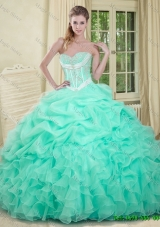 Summer Beautiful Beaded and Pick Ups Quinceanera Dresses in Apple Green