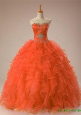 2015 Gorgeous Sweetheart Beaded Quinceanera Dresses in Organza
