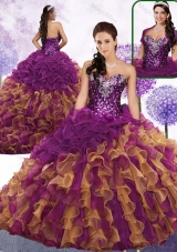 Pretty Sweetheart Beading and Ruffles Quinceanera Gowns in Multi Color