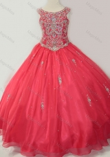 Hot Sale Puffy Scoop Little Girl Pageant Dress with Beading in Coral Red