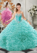 Classical Big Puffy Beaded and Ruffled Sweet Fifteen Dresses  in Organza