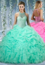 Beautiful Halter Top Beaded and Ruffled Sweet Fifteen Dresses  in Mint