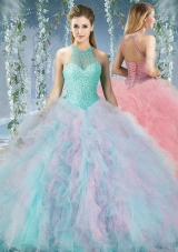 Lovely Beaded Decorated Halter Top Sweet Fifteen Dress in Organza