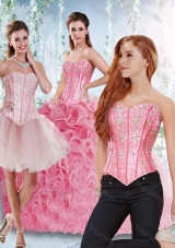 Rolling Flowers Beaded Bodice Detachable Sweet Fifteen Dresses in Rose Pink