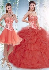 Beautifu Coral Red Detachable Sweet Fifteen Dresses with Beading and Ruffles