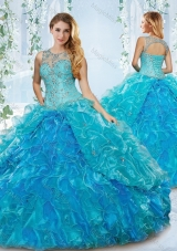 Modern See Through Blue Detachable Sweet Fifteen Dress with Beading and Ruffles