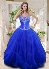 New Style See Through Sweetheart Blue Sweet Sixteen Gown with Beading