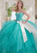 Wonderful Turquoise Big Puffy Sweet Sixteen Dress with Beading and White Bowknot