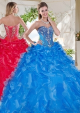 Fashionable Visible Boning Big Puffy Sweet Sixteen Dress with Beading and Ruffles