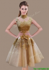 Vintage A Line High Neck Champagne Prom Dress with Appliques and Bowknot