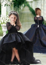 Romantic See Through Long Sleeves Flower Girl Dress in Navy Blue