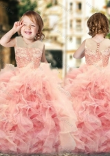 Wonderful Ruffled and Laced Flower Girl Dress with See Through Scoop