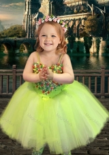 Most Popular Yellow Green Spaghetti Straps Flower Girl Dress with Beading