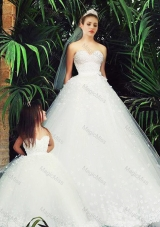 New Style A Line Sweetheart Wedding Dresses with Appliques and New Style Applique Flower Girl Dress in White