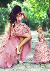 Exquisite High Low Sexy Prom Dress in Special Material and Perfect Applique Little Girl Dress with Straps